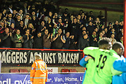 FGR supporters at the end of the match during the Vanarama National League first leg play off match between Dagenham and Redbridge and Forest Green Rovers at the London Borough of Barking and Dagenham Stadium, London, England on 4 May 2017. Photo by Shane Healey.