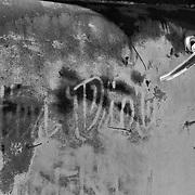 Heavy Rusted Truck Door - Motor Transport Museum - Campo, CA - Black & White