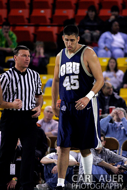 26 November 2005: ORU center, Mickey Michalec, in the Oral Roberts University 62-54 victory over Monmouth University in the Great Alaska Shootout in Anchorage, Alaska.