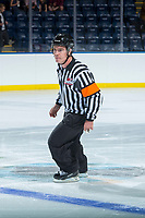 KELOWNA, CANADA - SEPTEMBER 5: Referee Kevin Crowell skates between the Kelowna Rockets and the against the Kamloops Blazers on September 5, 2017 at Prospera Place in Kelowna, British Columbia, Canada.  (Photo by Marissa Baecker/Shoot the Breeze)  *** Local Caption ***
