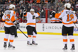 Jan 21; Newark, NJ, USA; Philadelphia Flyers defenseman Kimmo Timonen (44) celebrates his goal during the second period at the Prudential Center.