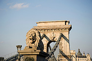 The Chain Bridge over the Danube River in Budapest, Hungary