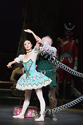 © Licensed to London News Pictures. 22/07/2014. London, England. Shiori Kase as Swanilda/Coppélia Doll and Michael Coleman as Dr Coppélius. Working stage rehearsal of Coppélia with the English National Ballet at the London Coliseum. With Shiori Kase as Swanilda and Yonah Acosta as Franz. Choreography by Ronald Hynd after Marius Petipa to music by Léo Delibes. Music performance by the Orchestra of the English National Ballet conducted by Gavin Sutherland. Photo credit: Bettina Strenske/LNP