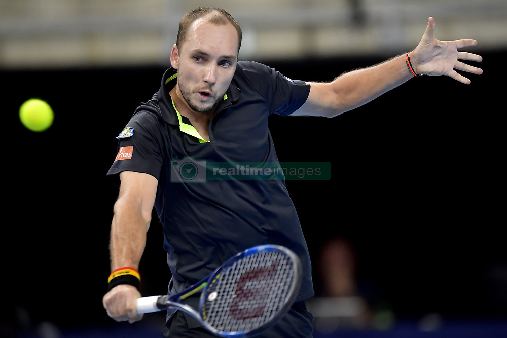 October 19, 2017 - Anvers, Belgique - ANTWERP, BELGIUM - OCTOBER 19 :   Steve Darcis (BEL) returns a backhand during his second round match against David Ferrer (ESP) on day 5 of the European Open on October 19, 2017 in Antwerp, Belgium, 19/10/2017 (Credit Image: © Panoramic via ZUMA Press)