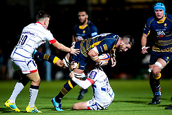 Matt Cox of Worcester Cavaliers is tackled - Mandatory by-line: Robbie Stephenson/JMP - 24/09/2018 - RUGBY - Sixways Stadium - Worcester, England - Worcester Cavaliers v Sale Jets - Premiership Rugby Shield