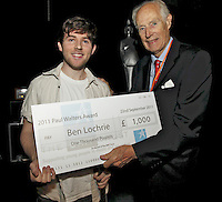 Ben Lochrie receiving the Paul Walters Award from Sir George Martin CBE. The BRIT School Industry Day, Croydon, London..Thursday, Sept.22, 2011 (John Marshall JME)