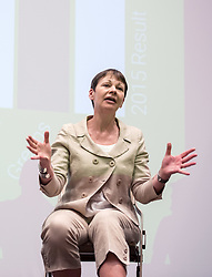 © Licensed to London News Pictures.  26/05/2017; Bristol, UK. General Election 2017; CAROLINE LUCAS. Green Party campaign in their number one target seat, Bristol West where they hope to gain their second Green MP with candidate Molly Scott Cato (currently MEP for the south west of England). Molly spoke with Green Party co-leader, the Green Party's only MP to date, and deputy leader Amelia Womack at a Bristol Green Society event at the University of Bristol Students Union Winston Theatre.<br /> Picture credit : Simon Chapman/LNP