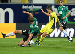 28.07.2011, Keine Sorgen Arena, Ried im Innkreis, AUT, UEFA EL Qualifikation, SV Josko Ried vs Brondby IF, im Bild Thomas Reifeltshammer, (SV Josko Ried, #28) und Nicolaj Agger, (Brøndby IF, Forward, #18) // during football match between SV Josko Ried (AUT) and Brondby IF (DEN) 1st Leg of Europa League third Qualifying Round, on July 28, 2011 at Keine Sorgen Arena Ried im Innkreis, Austria. EXPA Pictures © 2011, PhotoCredit: EXPA/ R. Hackl