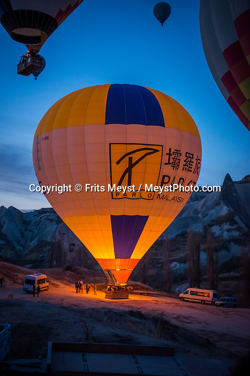 Goreme National Park, Cappadocia, Turkey, November 2015. Hot air ballooning over the tuffstone valleys and fairy chimneys of Cappadocia is the most popular activity for Tourists in Kapadokya. Photo by Frits Meyst / MeystPhoto.com