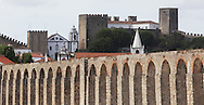 view from the aqueduct near the medieval village of Obidos, with castle walls that encircle the town, .Paulo Cunha/4see