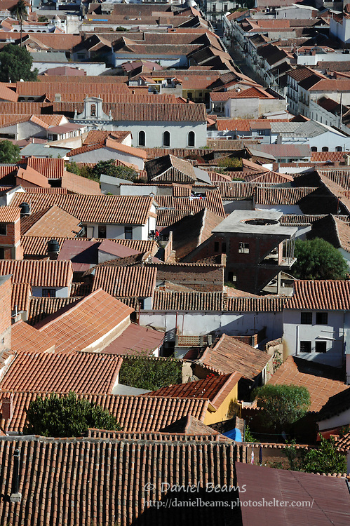 Red clay tile roofs of Sucre, Bolivia
