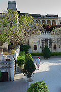 Facade and courtyard at Rawla Narlai, 17th Century merchant's house now a luxury heritage hotel in Narlai, Rajasthan, India