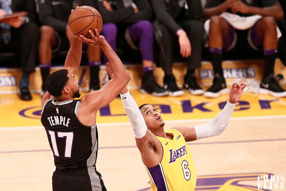 09 January 2018: Sacramento Kings guard Garrett Temple (17) takes a jump shot over Los Angeles Lakers guard Jordan Clarkson (6) during the LA Lakers 99-86 victory over the Sacramento Kings, at the Staples Center, Los Angeles, California, USA.