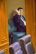 21 AUGUST 2014 - BANGKOK, THAILAND:        PORNPETCH WICHITCHOLCHAI, President of the Thai National Legislative Assembly (NLA) waves to other members of the NLA before chairing meeting to select a new Prime Minster. The NLA was hand selected by the Thai junta, formally called the National Council for Peace and Order (NCPO), and is supposed to guide Thailand back to civilian rule after a military coup overthrew the elected government in May. The NLA unanimously selected General Prayuth Chan-ocha, commander of the Thai Armed Forces and leader of the coup in May that deposed the elected civilian government, as Prime Minister. Prayuth is Thailand's 29th Prime Minister since the 1932 coup that created Thailand's constitutional monarchy.    PHOTO BY JACK KURTZ