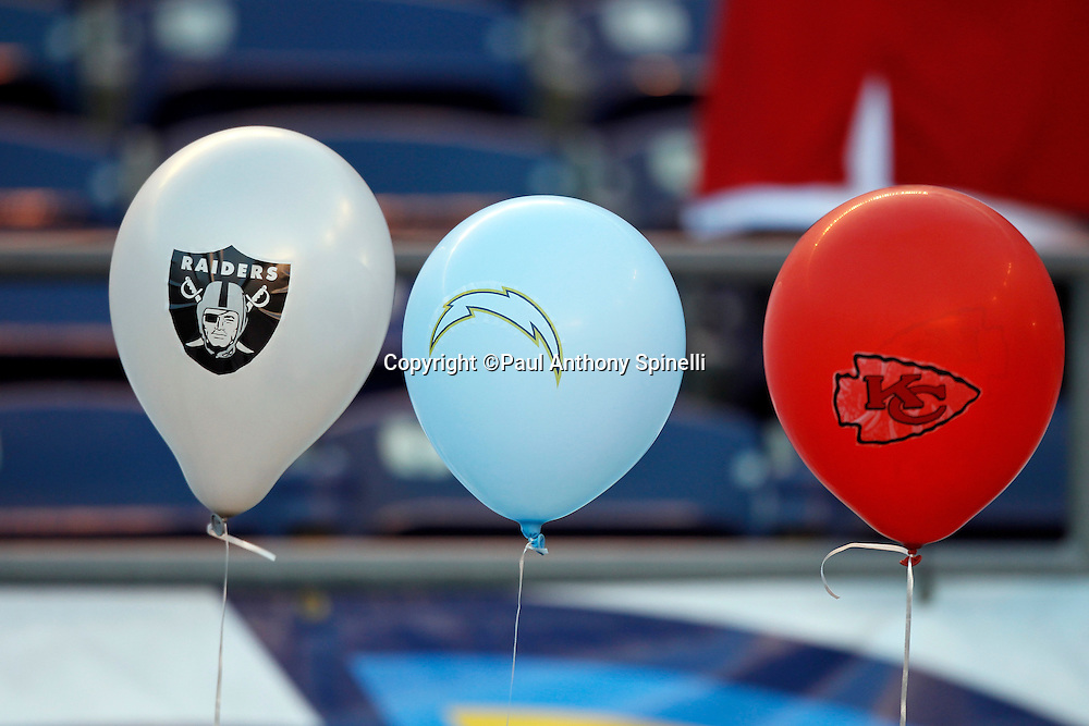 Oakland Raiders, San Diego Chargers, and Kansas City Chiefs balloons decorate the sideline prior to the San Diego Chargers NFL week 15 football game against the San Francisco 49ers on Thursday, December 16, 2010 in San Diego, California. The Chargers won the game 34-7. (©Paul Anthony Spinelli)