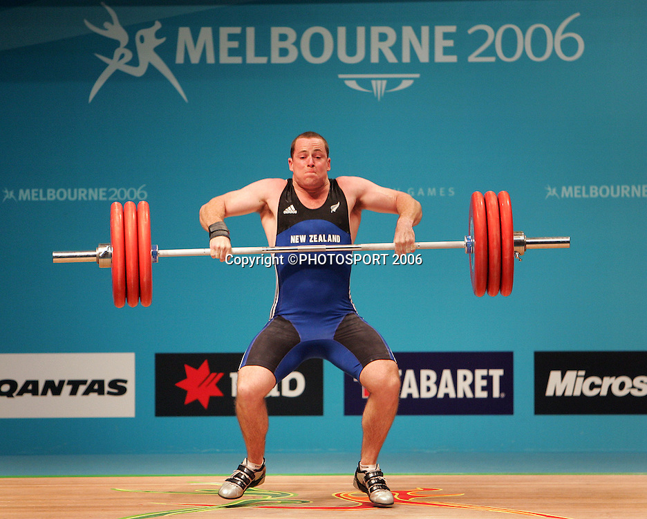 New Zealand's Grant Cavitt in action during the Mens 94kg Weightlifting on day 6 of the XVIII Commonwealth Games, Melbourne, Australia, Tuesday, March 21 2006. Photo: Michael Bradley/PHOTOSPORT<br /> <br /> 210306 151410