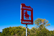 Cowboy welcome sign, Mancos, Colorado USA