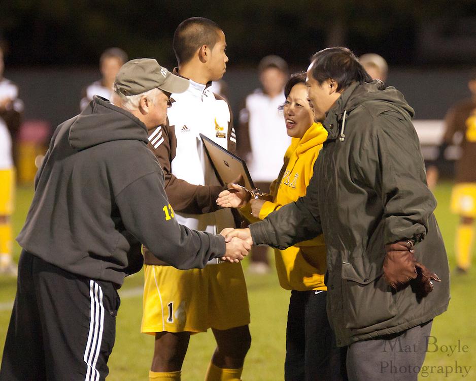 Rowan University Men's Soccer Senior Night halftime ceremony.
