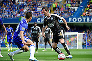 Le in actionicester City Defender Christian Fuchs (28) during the Barclays Premier League match between Chelsea and Leicester City at Stamford Bridge, London, England on 15 May 2016. Photo by Jon Bromley.