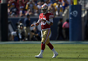 San Francisco 49ers quarterback Jimmy Garoppolo (10) during an NFL football game against the Los Angeles Rams, Sunday, Oct. 13, 2019, in Los Angeles. The 49ers defeated the Rams 20-7. (Dylan Stewart/Image of Sport)