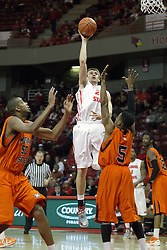 16 December 2012:  Jon Ekey goes vertical to get off a short jump shot during an NCAA men's basketball game between the Morgan State Bears and the Illinois State Redbirds (Missouri Valley Conference) in Redbird Arena, Normal IL