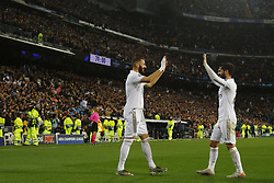Real Madrid CF's Karim Benzema and Real Madrid CF's Isco Alarcon celebrates after scoring a goal during UEFA Champions League match, groups between Real Madrid and Paris Saint Germain at Santiago Bernabeu Stadium in Madrid, Spain. November, Tuesday 26, 2019. Photo by Manu R.B./AlterPhotos/ABACAPRESS.COM