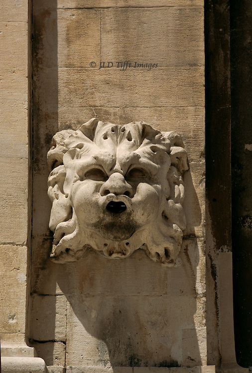 Closeup of a lion head on a wall in Dubrovnik, Croatia.  Dry spout.