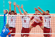 Poland, Warsaw - 2017 August 24: (L-R) Fabian Drzyzga and Lukasz Wisniewski and Bartosz Kurek all from Poland block against Uros Kovacevic from Serbia during LOTTO EUROVOLLEY POLAND 2017 - European Championships in volleyball at Stadion PGE Narodowy on August 24, 2017 in Warsaw, Poland.<br /> <br /> Mandatory credit:<br /> Photo by © Adam Nurkiewicz<br /> <br /> Adam Nurkiewicz declares that he has no rights to the image of people at the photographs of his authorship.<br /> <br /> Picture also available in RAW (NEF) or TIFF format on special request.<br /> <br /> Any editorial, commercial or promotional use requires written permission from the author of image.
