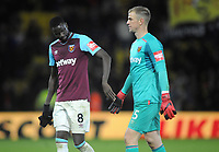 Football - 2017 / 2018 Premier League - Watford vs. West Ham United<br /> <br /> After defeat : Cheikhou Kouyate consoles Joe Hart at the final whistle at The London Stadium.<br /> <br /> COLORSPORT/ANDREW COWIE
