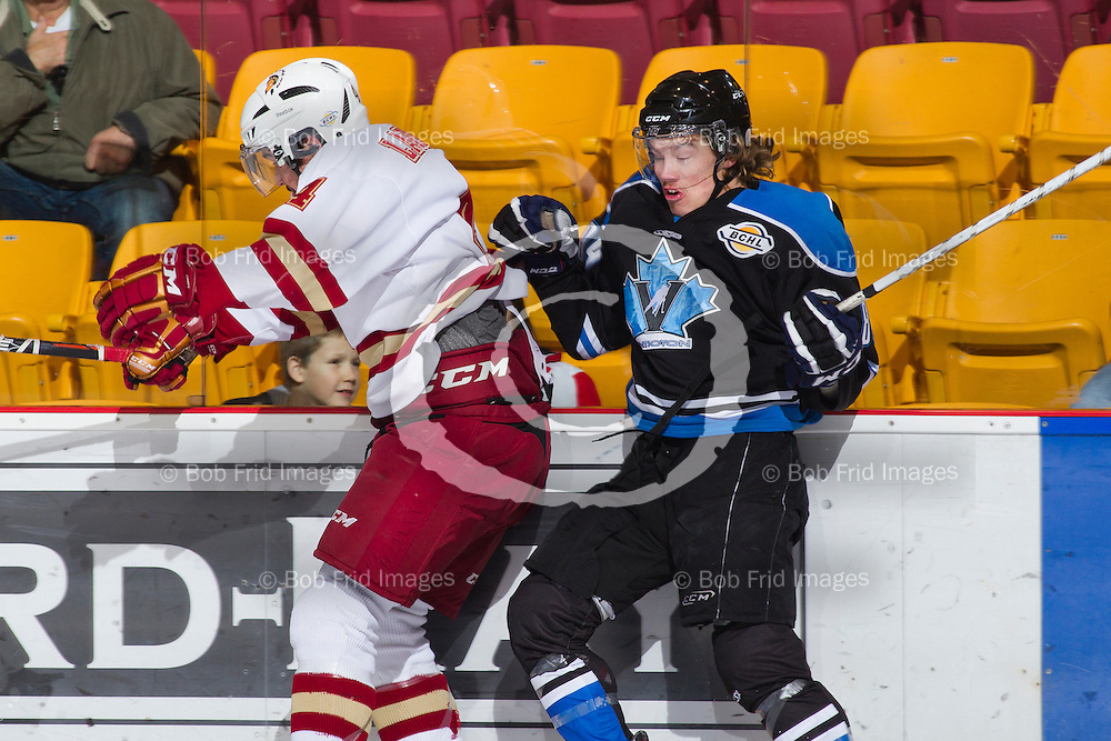 10 November 2012:  Shay Laurent (4) of the Chiefs  during a game between the Chilliwack Chiefs and the Penticton Vees at  Prospera Centre, Chilliwack, BC.    Final Score: Chilliwack 5  Penticton 4   ****(Photo by Bob Frid - All Rights Reserved 2012): mobile: 778-834-2455 : email: bob.frid@shaw.ca ****