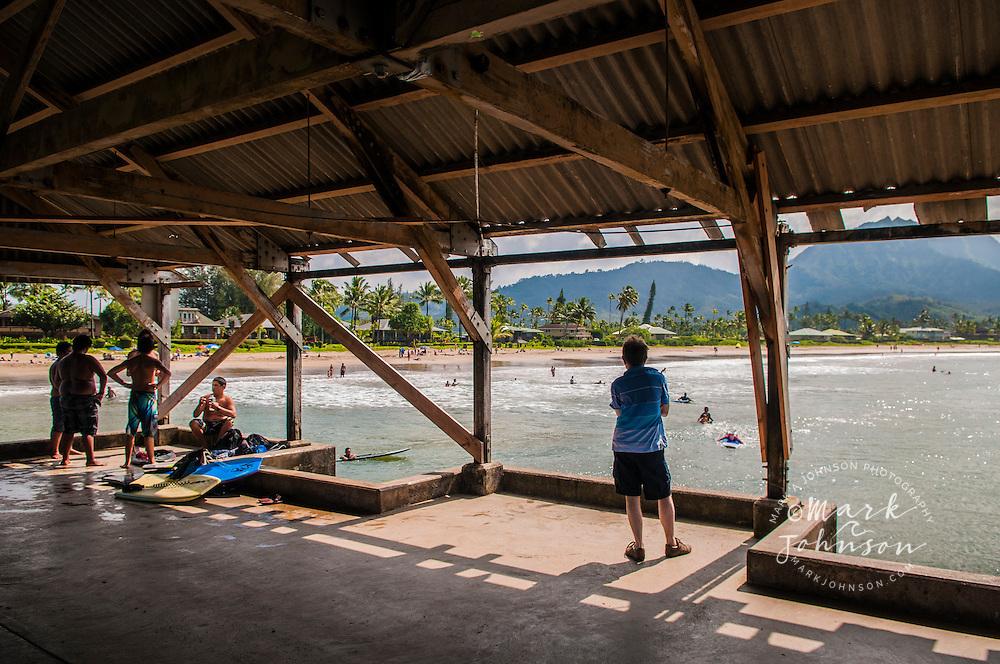 Hanalei Bay as seen from inside the Hanalei pier, Hanalei, Kauai, Hawaii