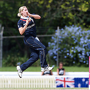 Katherine Brunt bowling during the match between England and New Zealand in the Super 6 stage of the ICC Women's World Cup Cricket tournament at Bankstown Oval, Sydney, Australia on March 14 2009, England won the match by 31 runs. Photo Tim Clayton