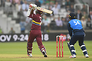 M.N. Samuels of West Indies launches one to long on and is caught on the boundary by Thisara Perera (Sri Lanka) of ICC World XI during the International Twenty/20 match at Lord's, London<br /> Picture by Simon Dael/Focus Images Ltd 07866 555979<br /> 31/05/2018