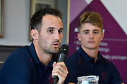 Somerset County Cricket Club Vitality Blast captain Lewis Gregory in the press conference with Tom Abell watching on during the 2019 media day at Somerset County Cricket Club at the Cooper Associates County Ground, Taunton, United Kingdom on 2 April 2019.
