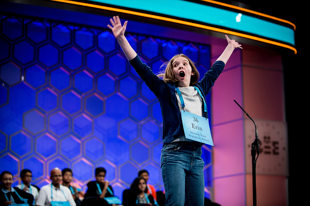 Erin Howard, 12, from Huntsville, Ala., reacts after spelling her word correctly as she participates in the finals of the 2017 Scripps National Spelling Bee on Thursday, June 1, 2017 at the Gaylord National Resort and Convention Center at National Harbor in Oxon Hill, Md.      Photo by Pete Marovich/UPI