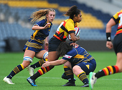 Maddy Escott of Worcester Valkyries tackles Rachel Laqeretabua of Richmond Women - Mandatory by-line: Nizaam Jones/JMP - 22/09/2018 - RUGBY - Sixways Stadium - Worcester, England - Worcester Valkyries v Richmond Women - Tyrrells Premier 15s