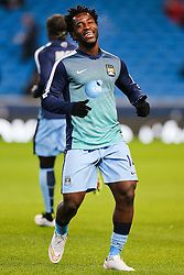 Manchester City's Wilfried Bony warms up ahead of his first start for Manchester City - Photo mandatory by-line: Matt McNulty/JMP - Mobile: 07966 386802 - 04/03/2015 - SPORT - football - Manchester - Etihad Stadium - Manchester City v Leicester City - Barclays Premier League
