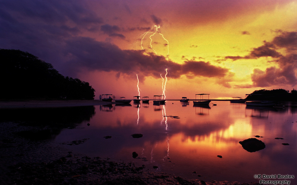 Lightning at the mouth of the Playa Grande Estuary, Costa Rica