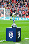 The trophy awaits both teams before the FA Carlsberg Trophy Final match between North Ferriby United and Wrexham FC at Eon Visual Media Stadium, North Ferriby, United Kingdom on 29 March 2015. Photo by Michael Hulf.