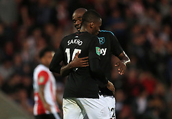 Diafra Sakho of West Ham United celebrates after scoring the opening goal for his side (0-1) - Mandatory by-line: Paul Roberts/JMP - 23/08/2017 - FOOTBALL - LCI Rail Stadium - Cheltenham, England - Cheltenham Town v West Ham United - Carabao Cup