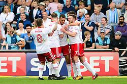 Kayden Jackson of Accrington Stanley celebrates scoring a goal with team mates - Mandatory by-line: Dougie Allward/JMP - 21/04/2018 - FOOTBALL - Adam's Park - High Wycombe, England - Wycombe Wanderers v Accrington Stanley - Sky Bet League Two