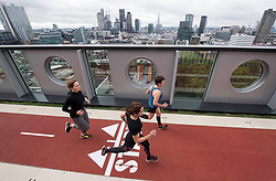 'London's highest running track' is unveiled at a new tech site at the White Collar Factory, London.