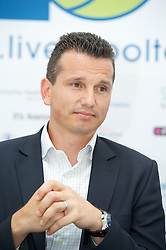 LIVERPOOL, ENGLAND - Thursday, June 21, 2012: Richard Krajicek (NED) during a press conference on the opening day of the Medicash Liverpool International Tennis Tournament at Calderstones Park. (Pic by David Rawcliffe/Propaganda)