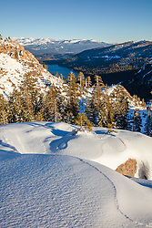 """Snow Above Donner Lake 1"" - This late afternoon snowy scene was photographed above Donner Lake and Truckee, California."