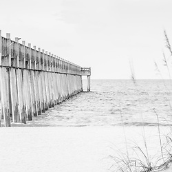 Pensacola Beach Gulf Pier and beach grass black and white panorama photo. Pensacola Beach is a coastal city along the Emerald Coast in the Southeastern United States. Panorama photo ratio is 1:3. Copyright ⓒ 2018 Paul Velgos with All Rights Reserved.
