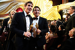 Alex Honnold and Jimmy Chin pose with the Oscar® for best documentary feature during the live ABC telecast of The 91st Oscars® at the Dolby® Theatre in Hollywood, CA on Sunday, February 24, 2019.