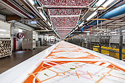 Lyon, Atelier Hermès, silk atelier at Pierre-Benite, 150 metri di seta in fase do stampa. 150 meters of silk ready for all the prints process