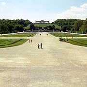 Tourists visit the Schoenbrunn, the royal family's summer home, in Vienna, Austria. Home to Marie Antoinette. Mozart played in this place.