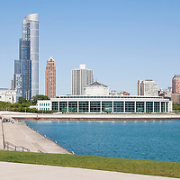 Picture of Shedd Aquarium and Chicago lakefront along Museum Campus in downtown Chicago, Illinois. The Shedd Aquarium is one of Chicago's best and most popular attractions. Picture is high resolution and was taken in 2010.