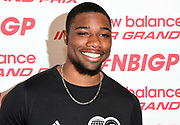 Noah Lyles poses during a  press conference prior to the New Balance Indoor Grand Prix in Boston on Friday, Feb. 9, 2018.
